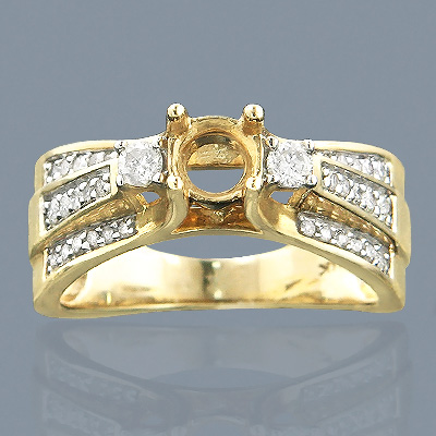 14K Gold Diamond Engagement Ring Setting 0.65ct Main Image