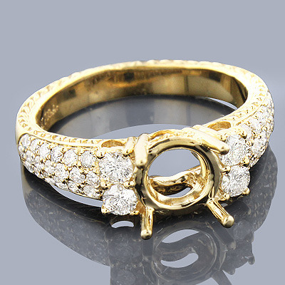 14K Gold Diamond Engagement Ring Setting 0.76ct Main Image