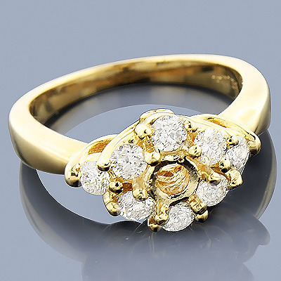 14K Gold Diamond Engagement Ring Setting 0.78ct Main Image