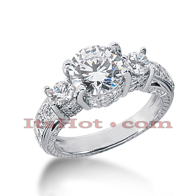 14K Gold Diamond Engagement Ring Setting 1.21ct Main Image