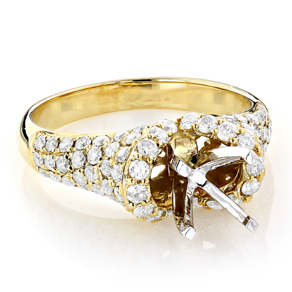 14K Gold Diamond Engagement Ring Setting 1.50ct