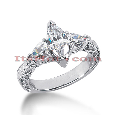 14K Gold Diamond Engagement Ring Setting 1ct Main Image