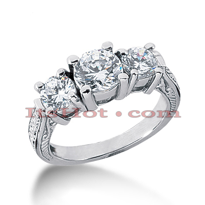 14K Gold Diamond Engagement Ring Setting 1ct
