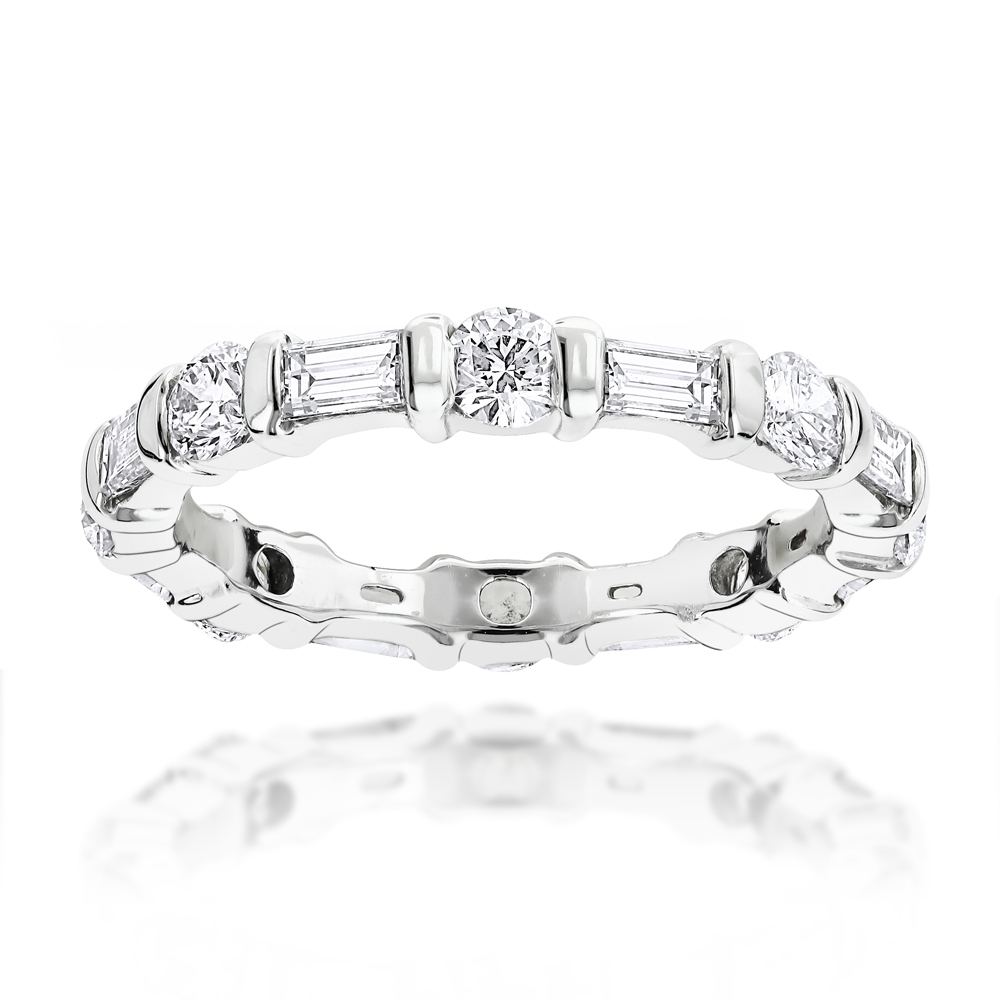 14K Gold Baguette and Round Diamond Eternity Band by Luxurman 1.26ct White Image
