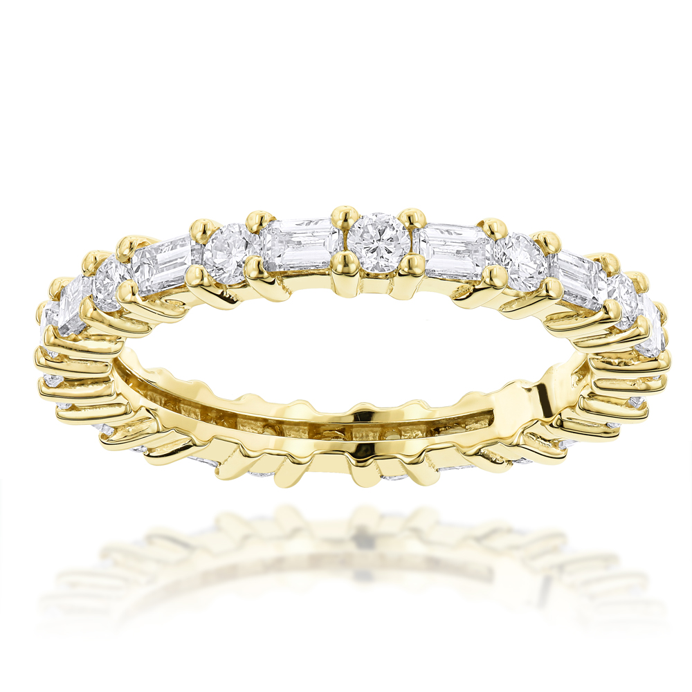 14K Gold Diamond Eternity Band 1.56ct Yellow Image