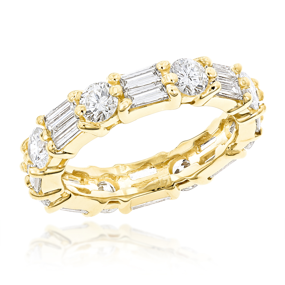 14K Gold Round & Baguette Diamond Eternity Band 4mm Wide 2.96ct Yellow Image