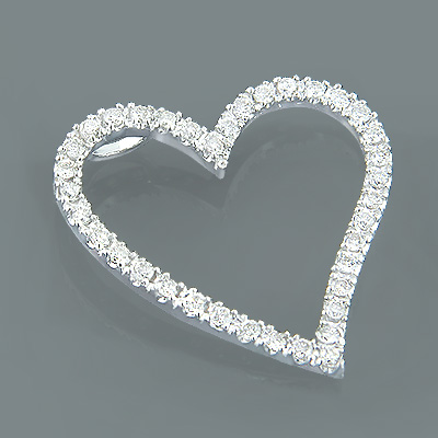 14K Gold Diamond Floating Heart Pendant 1.26ct Main Image
