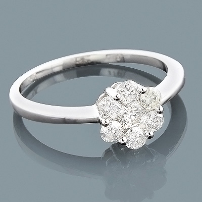 14K Gold Diamond Flower Cluster Ring 0.60ct
