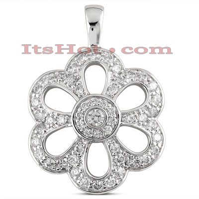 14K Gold Diamond Flower Pendant 1.02ct Main Image