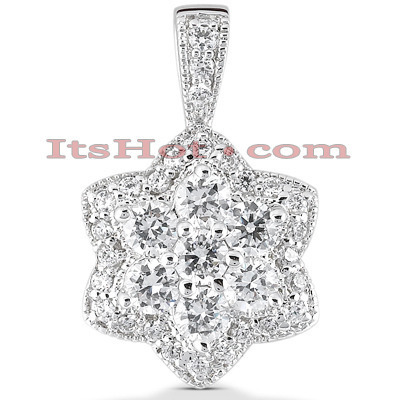 14K Gold Diamond Flower Pendant 2.29ct Main Image