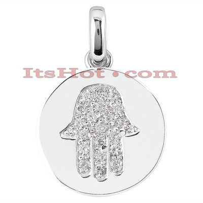 14K Gold Diamond Hamsa Pendant 0.60ct Main Image