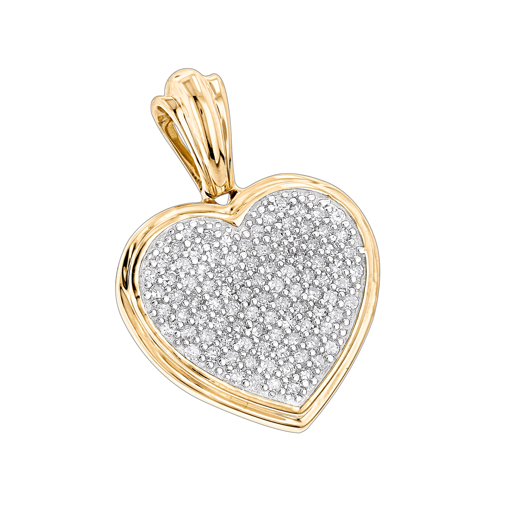 14K Gold Diamond Heart Pendant 0.33ct Yellow Image