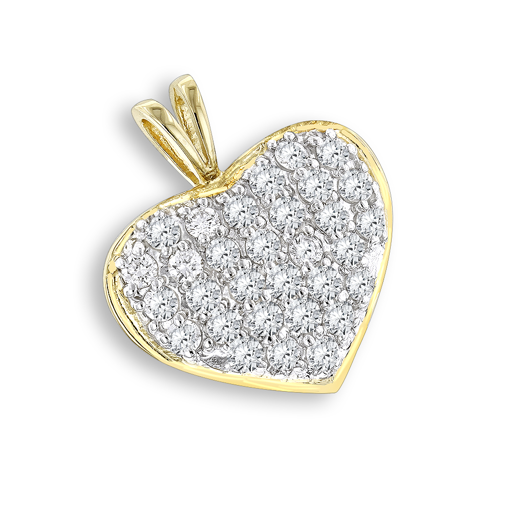 14K Gold 1 Carat Diamond Heart Pendant by Luxurman Yellow Image