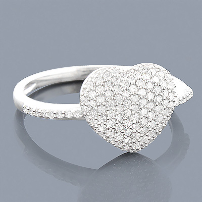 14K Gold Diamond Heart Ring for Women 0.46ct Main Image