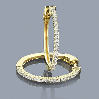 14K Gold Diamond Hoop Earrings 0.64ct Main Image