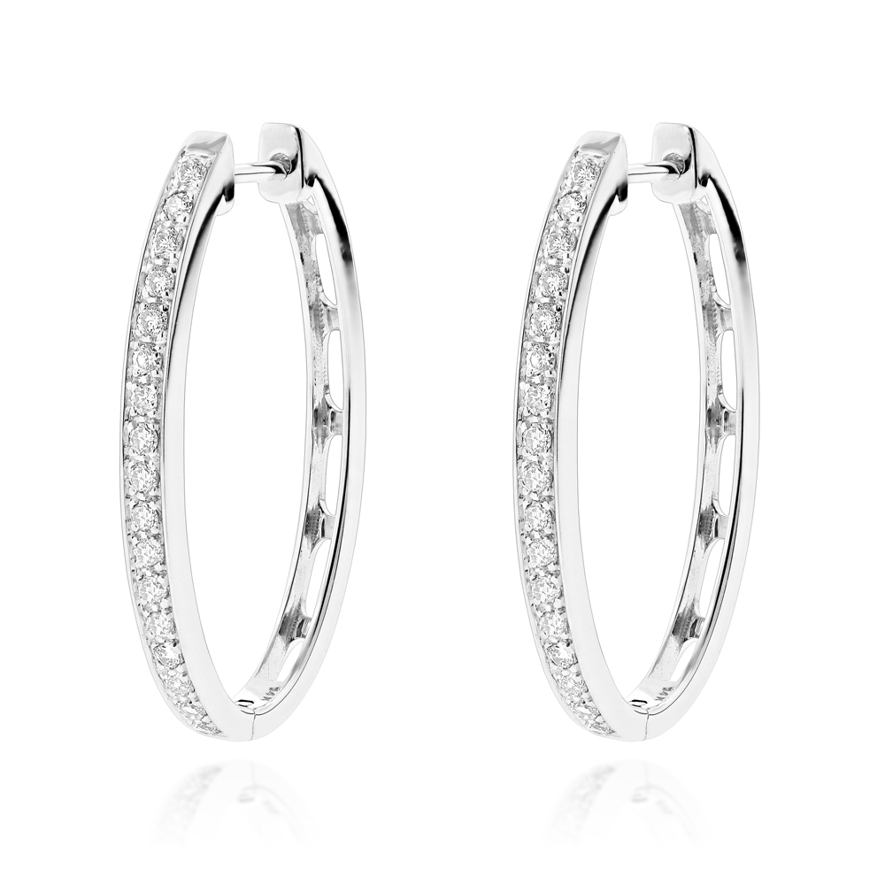 14K Gold Oval Diamond Hoop Earrings for Women 0.71ct White Image