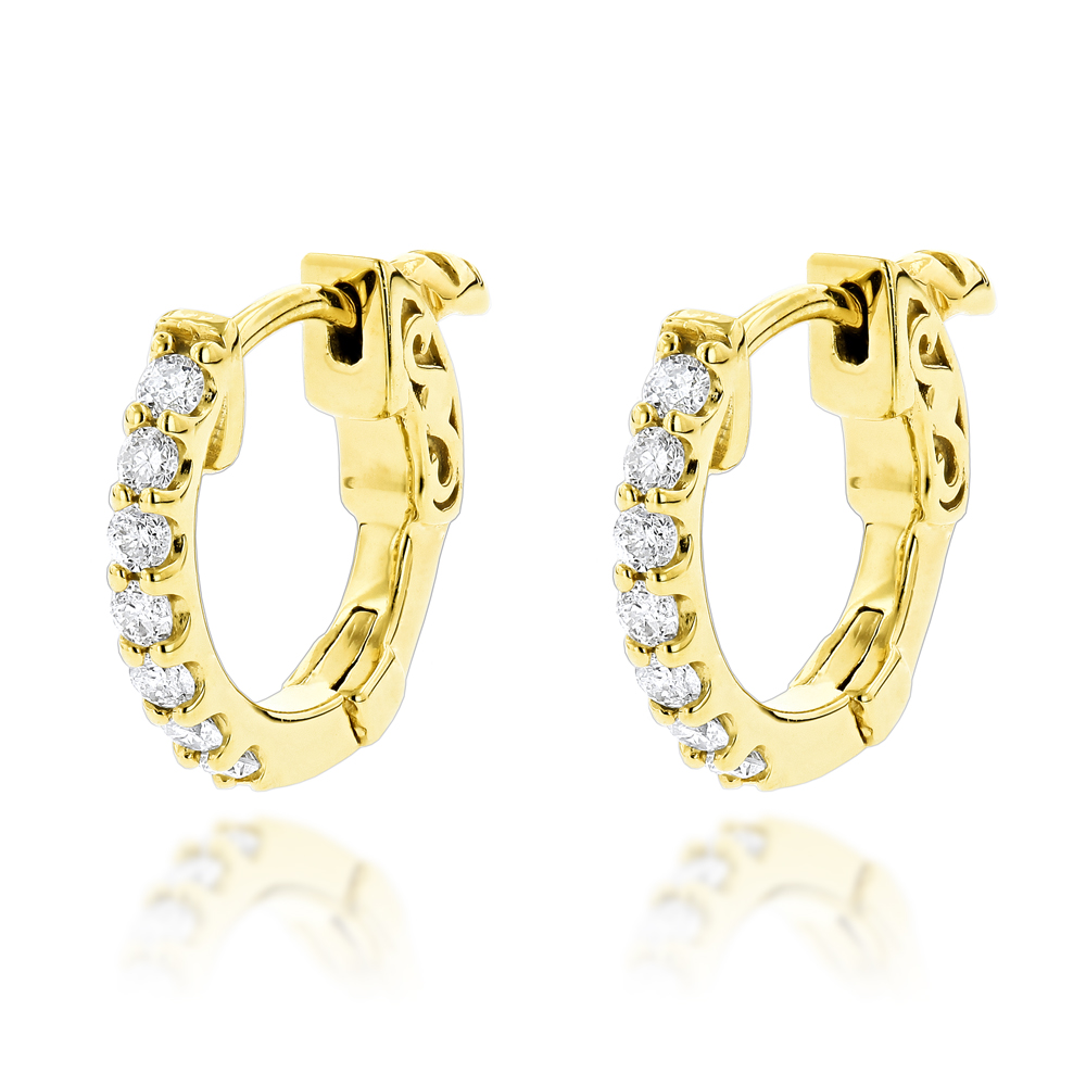 14K Gold Diamond Huggie Earrings 0.21ct