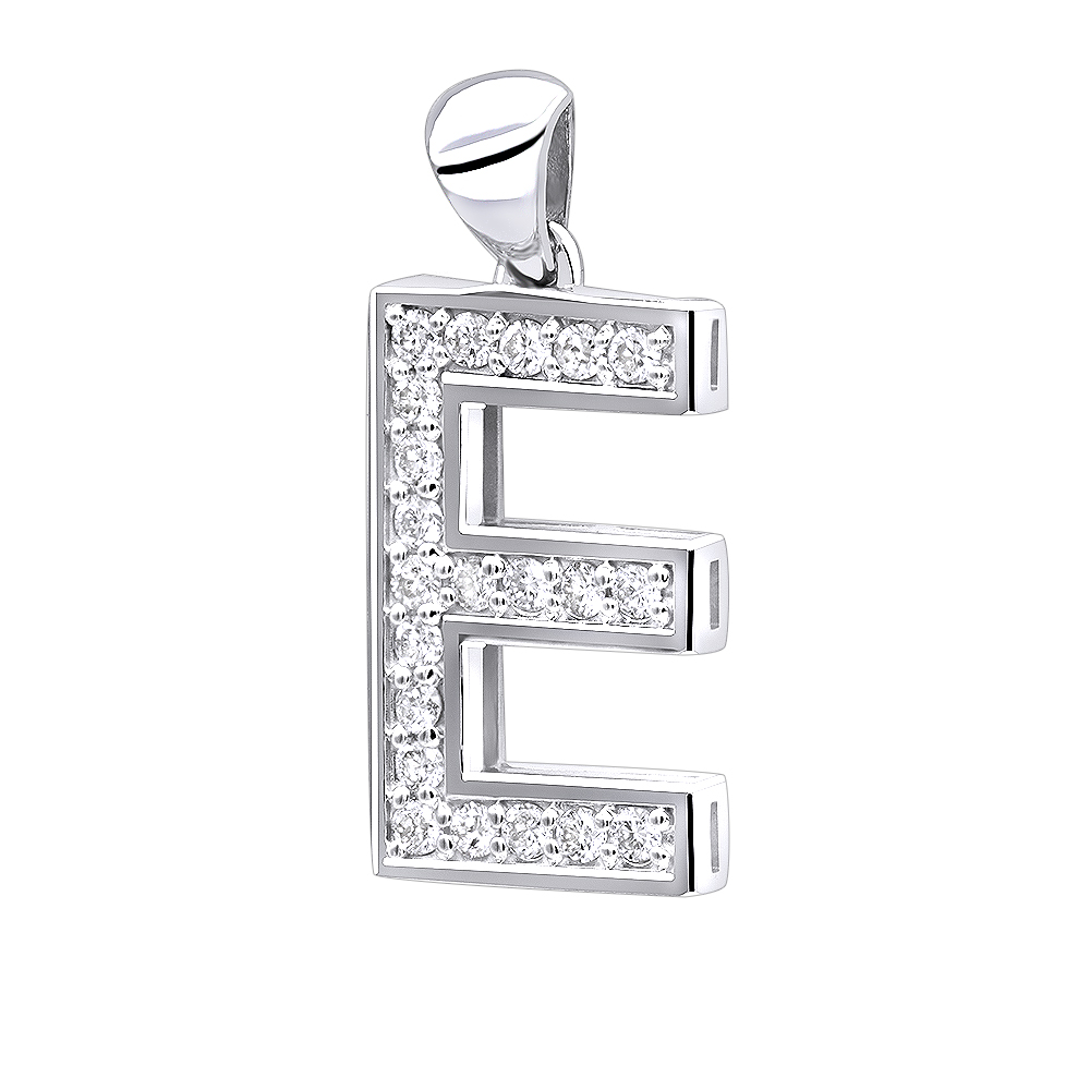 14K Gold Diamond Initial Letter Pendant 0.33ct White Image