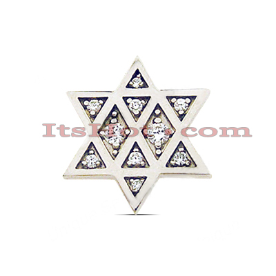 14K Gold Diamond Jewish Star Pendant 0.16ct Main Image