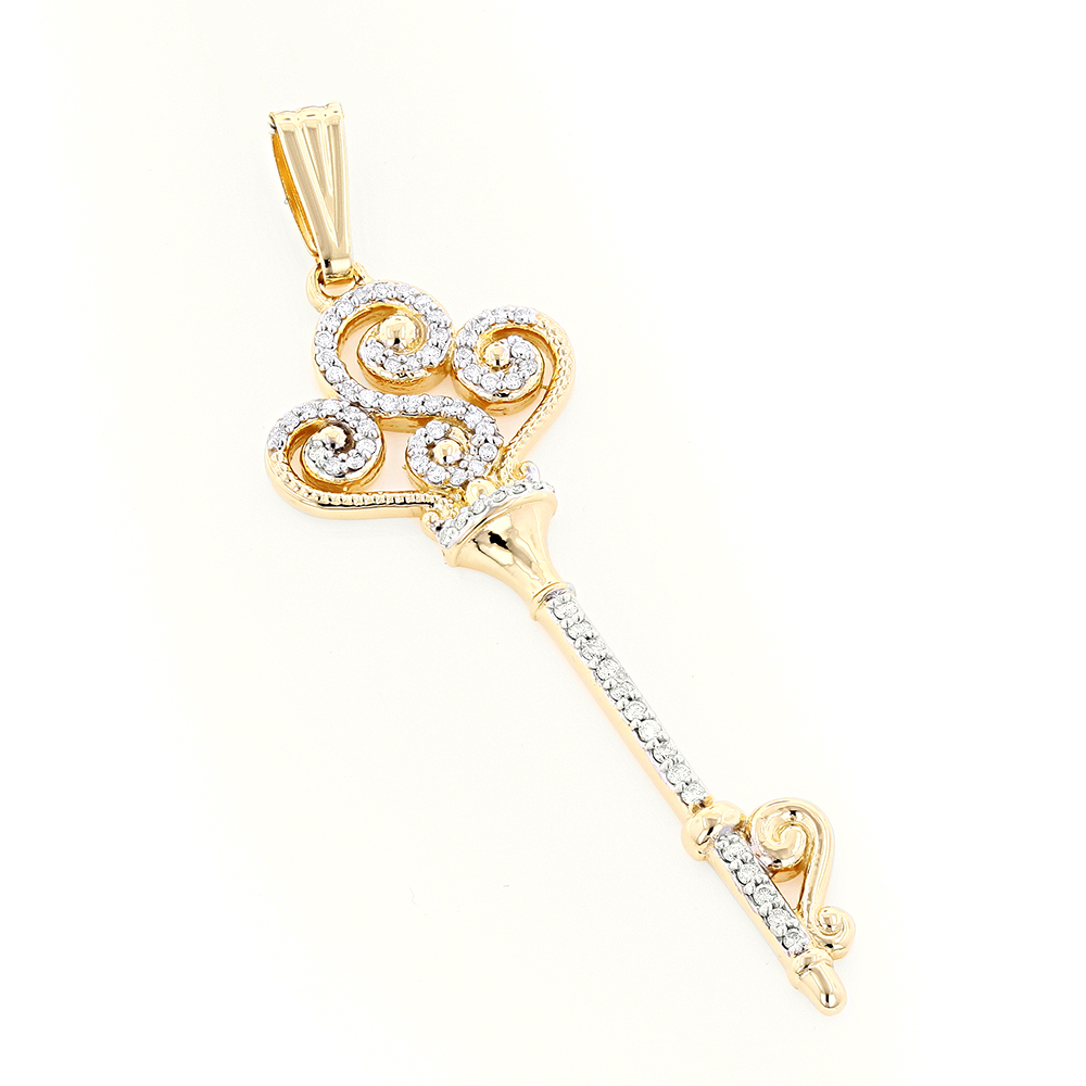 14K Gold Diamond Key Necklace 0.5ct Yellow Image