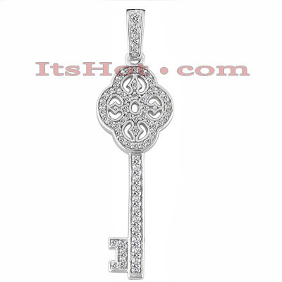 14K Gold Diamond Key Pendant 0.45ct Main Image