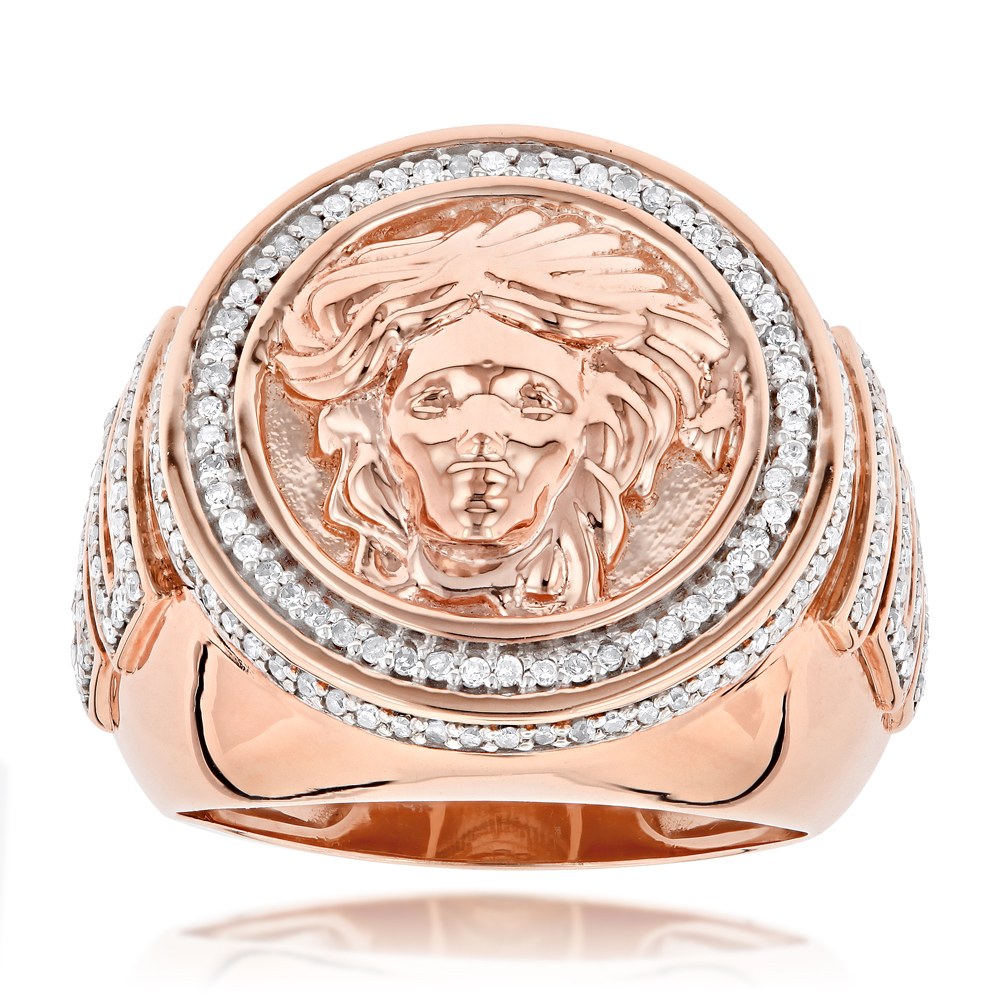 2e8cc2482aa0d 14K Gold Diamond Mens Versace Style Ring 1.88ct Medusa