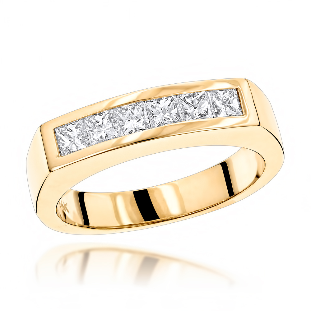 14K Gold Diamond Men's Wedding Band 0.60ct Yellow Image