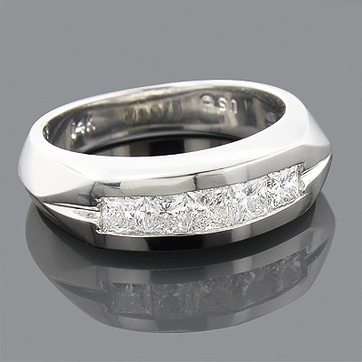 14K Gold 5 Stone Diamond Mens Wedding Band 0.85ct Main Image