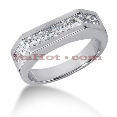 14K Gold Diamond Men's Wedding Ring 1.98ct