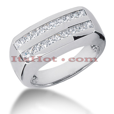 14K Gold Diamond Men's Wedding Ring 1ct Main Image