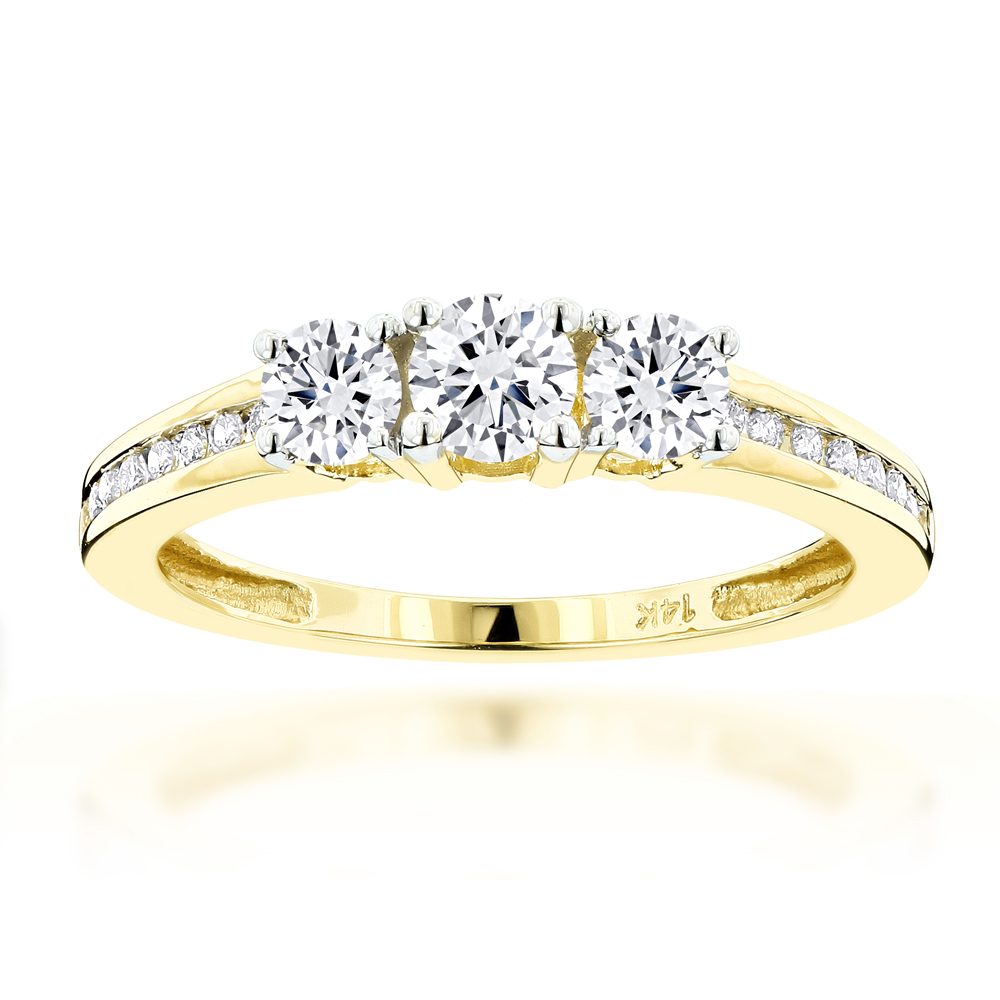 14K Gold Diamond Past Present Future Engagement Ring 0.7ct Yellow Image