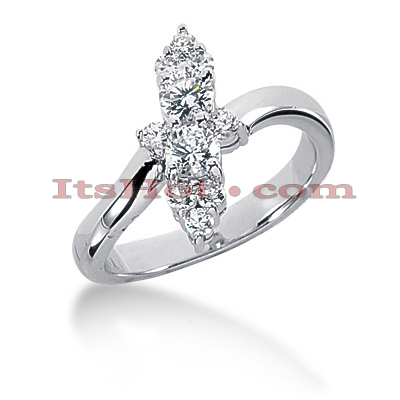 14K Gold Diamond Right Hand Womens Ring 0.64ct 14.2mm Main Image