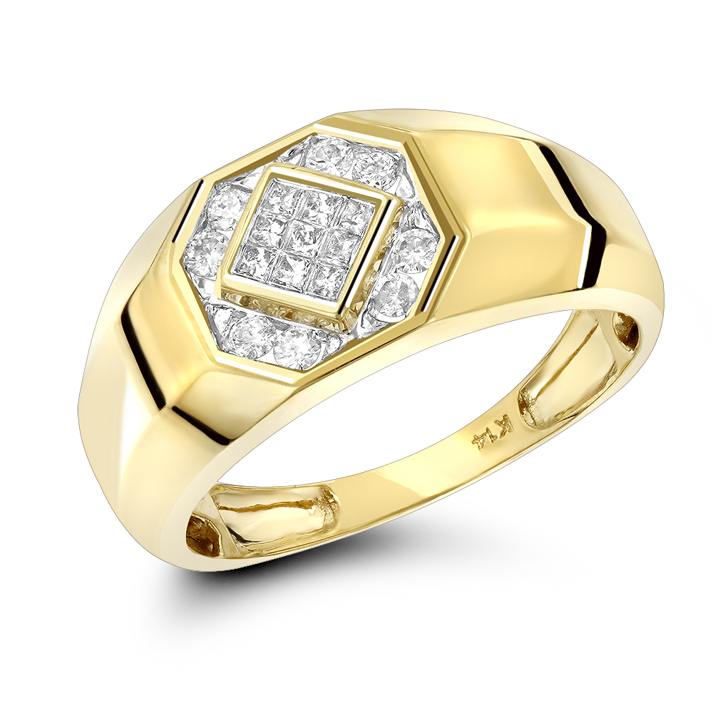 14K Gold Diamond Ring Round & Princess Diamonds 0.5ct Yellow Image
