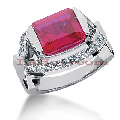 14K Gold Diamond Ring with Ruby 5ctr 1.00ctd Main Image