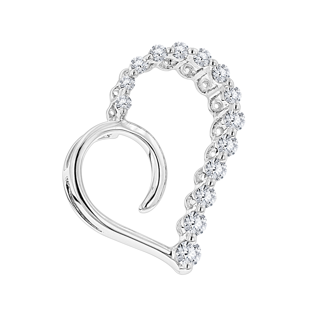 14K Gold Diamond Small Open Heart Pendant for Women by Luxurman 0.2ct White Image