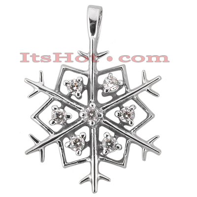 14K Gold Diamond Snowflake Pendant 0.35ct Main Image