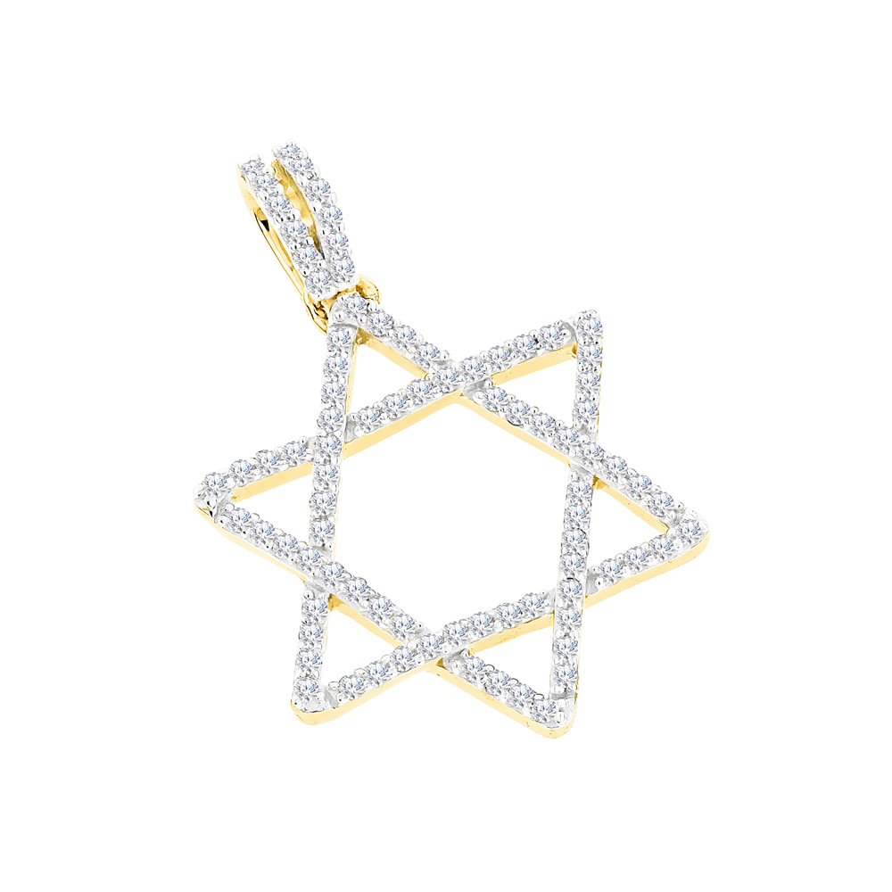 14K Gold Diamond Star of David Pendant 0.28ct Yellow Image