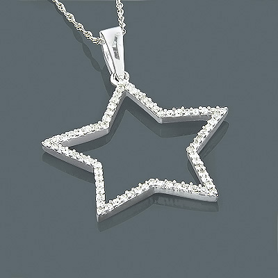 14K Gold Diamond Star Pendant 0.28ct