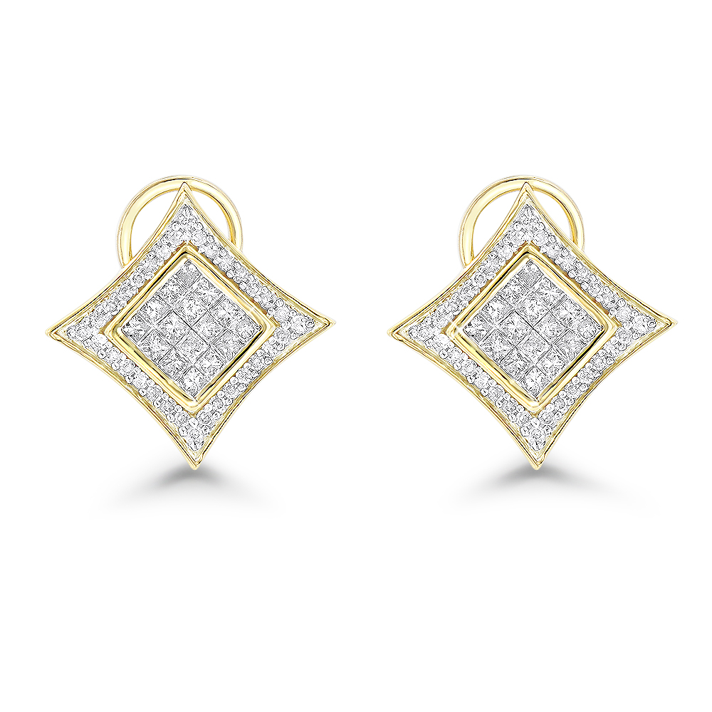 14K Gold Diamond Stud Earrings 1ct Yellow Image