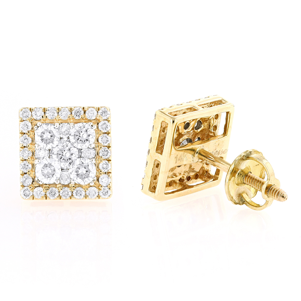 Square 14K Gold Diamond Stud Earrings 1.1ct Yellow Image