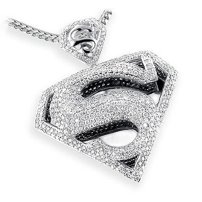 14k gold diamond superman pendant charm 450ct mozeypictures Gallery