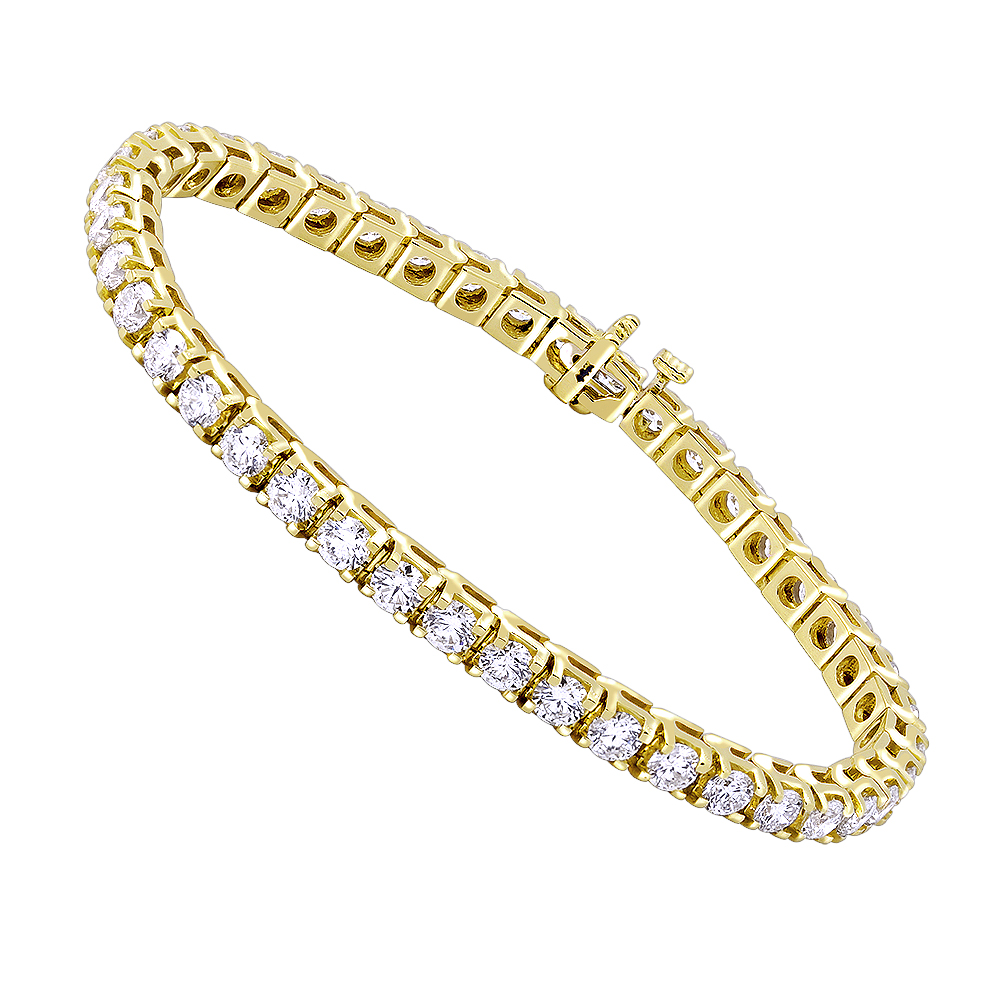14K Gold Diamond Tennis Bracelet Round Diamonds 9.72ct Yellow Image