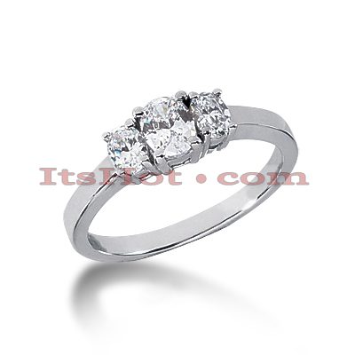 Unique Affordable 14K Gold Oval Diamond Three Stone Engagement Ring 0.55ct Main Image