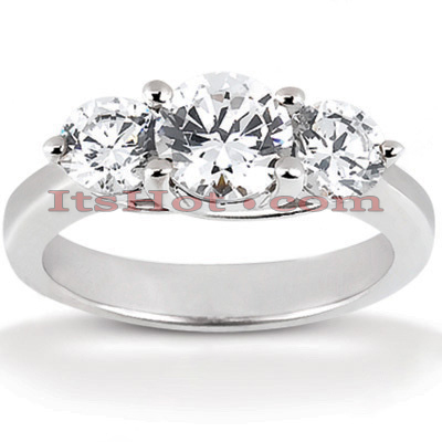Thin 14K Gold Diamond Three Stone Engagement Ring 0.80ct Main Image