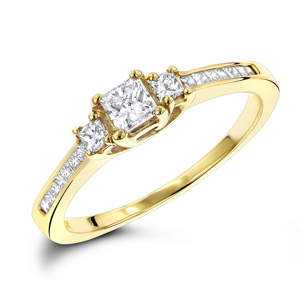 Thin 14K Gold Diamond Three Stones Engagement Ring 0.72ct Yellow Image