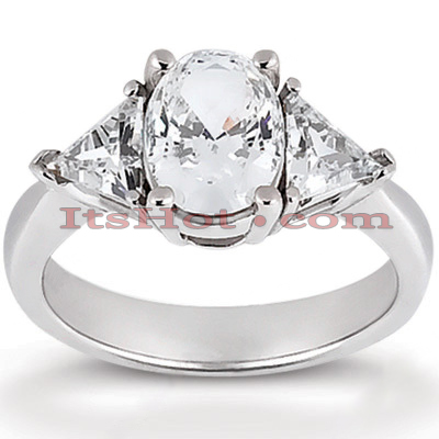 14K Gold Diamond Three Stones Engagement Ring 0.80ct Main Image