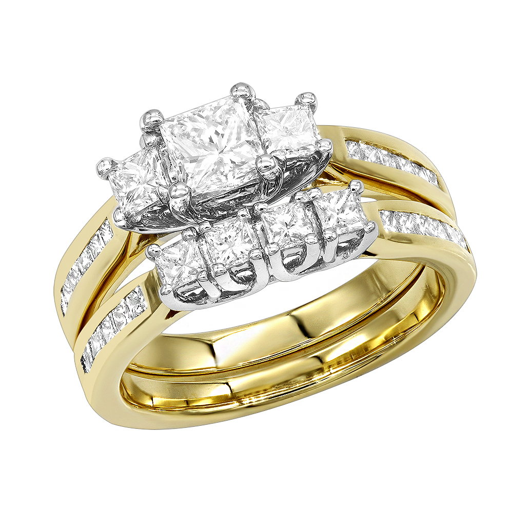 14K Gold Princess Cut Diamond Three Stones Engagement Ring Set 1.52 Yellow Image