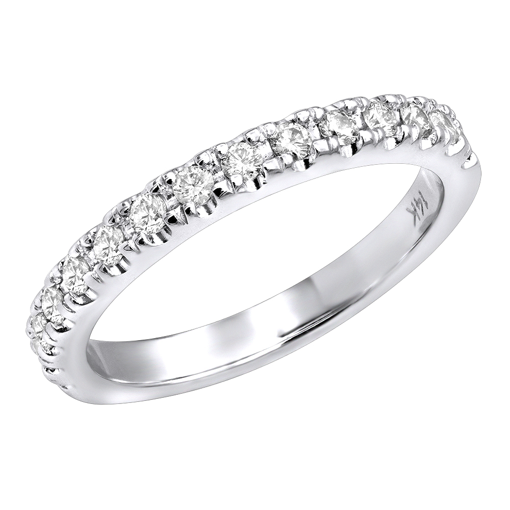 Thin 14K Gold Diamond Unique Engagement Band 0.27ct