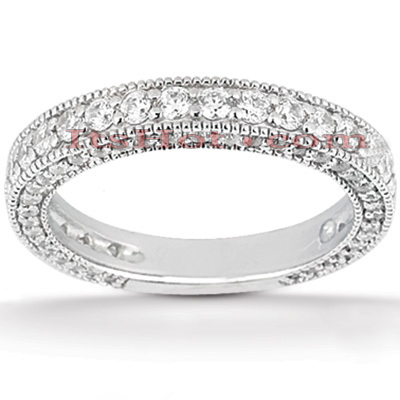 Ultra Thin 14K Gold Diamond Unique Engagement Band 0.95ct