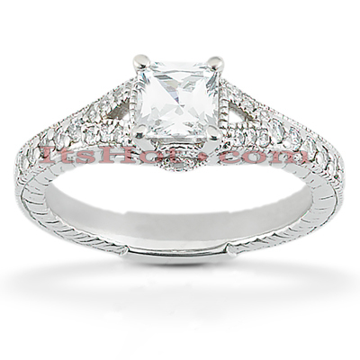 14K Gold Diamond Unique Engagement Ring 0.89ct